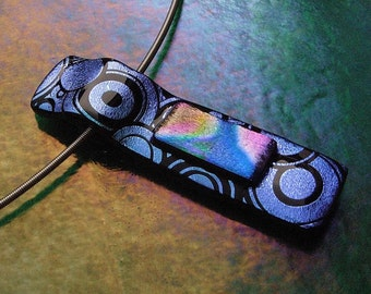 Circles Fused Dichroic Glass Pendant with Stainless Steel Choker