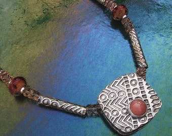 Sterling Necklace, Tribal Square Box Bead with Coral Cabochon and Borosilicate Glass, OOAK
