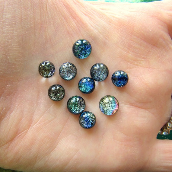 Dichroic Glass Cabochons Micro Mini Set of 10 Lot 6