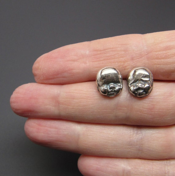 RESERVED FOR JUDY Sterling Silver Post Earrings Early Peas Baby Faces