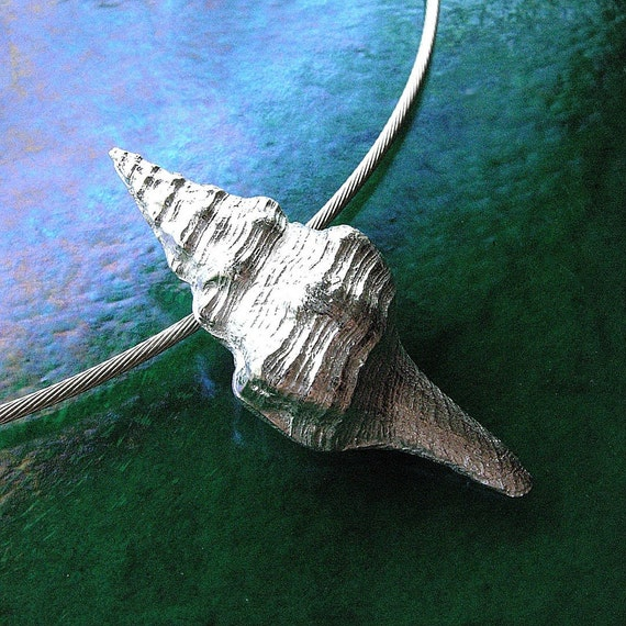 Silver Horse Conch Pendant with Sterling Silver Cable Necklace