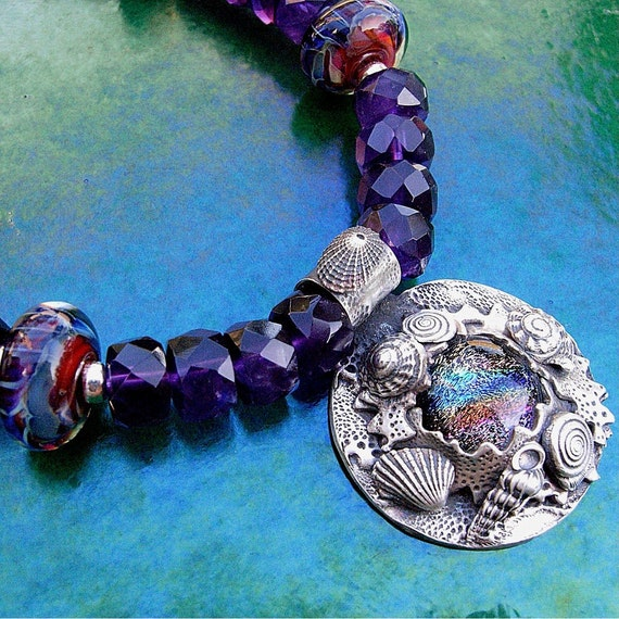 Dive Necklace - Fine Silver, Amethyst, Sterling, Dichroic and Boro Beads