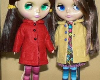 Blythe Pattern - Sewing Pattern for Blythe doll - Blythe felt coat pattern