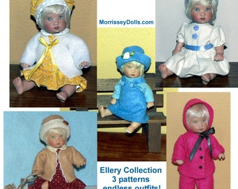 "Tiny Doll Clothes Patterns - 5-1/2"" Ellery Kish doll clothes - 3 PDF sewing pattern set"
