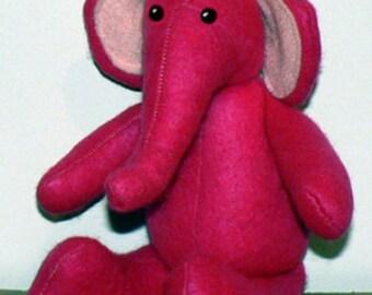 Sewing pattern for stuffed animal felt elephant stuffie PDF