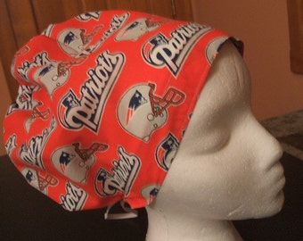 New England Patriots Hattie Style....... Surgical Hat.......Chefs Hat........Chemo Hat