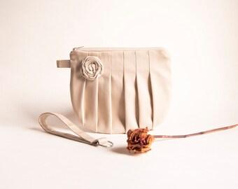 Country Rustic Wedding Bridal Clutch Purse, Khaki  Wristlet Clutch, Bridesmaid Gift Idea Clutch, Rosebud