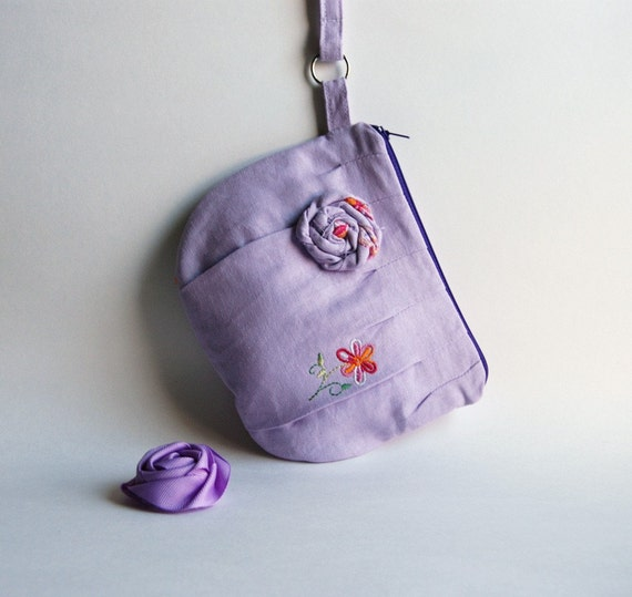 Romantic Rosebud pleats in lilac- lavender zippered pouch, purse, clutch, wristlet by Lolos