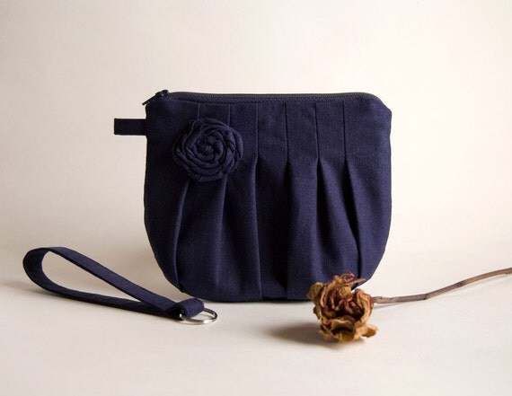 Reserved for Maya-Navy Blue Bridal Wedding Clutch or Bridesmaid Gift Clutch, Pouch, Wristlet, Purse - Romantic Rosebud pleats by Lolos