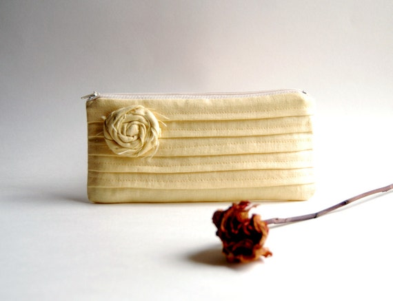 Yellow Bridal Wedding Clutch or Bridesmaid Clutch, Pouch, Purse - Romantic Rose pleats  by Lolos