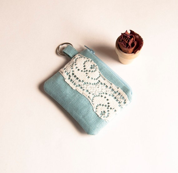 Reserved for Ashley-Ice Blue Bridal Wedding coin purse or Bridesmaid coin purse, pouch, wallet  -  Romantic Cute by Lolos