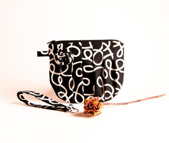 Super Sale Black White Rosebud Bridal Wedding Zippered Pleated Cosmetic Clutch bag Bridesmaid Gift Idea Clutch, Pouch, Wristlet, Purse