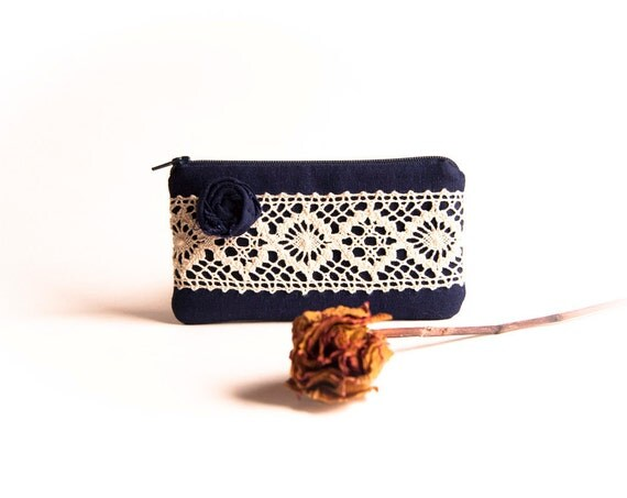 Navy Blue Bridal Wedding Clutch or Bridesmaid Clutch, Pouch, Purse -Reserved for Amy- Romantic Rosette Lace by Lolos