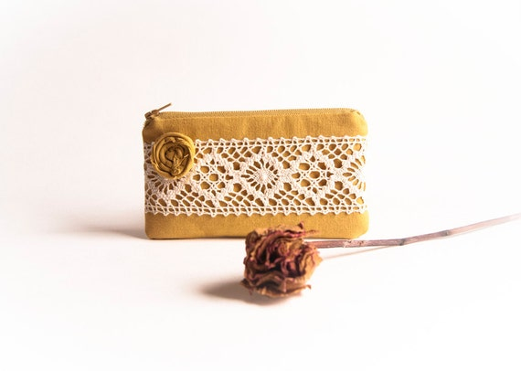 Mustard Yellow Bridal Wedding Clutch or Bridesmaid Clutch, Pouch, Purse - Romantic Rosette Lace by Lolos