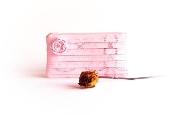 Bridesmaid Gift Clutch Pleated Clutch Light Pink Flower Cosmetic clutch Bridal wedding clutch purse handbag by Lolos