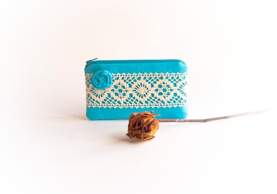 Blue Turquoise Bridal Wedding Clutch or Bridesmaid Clutch, Pouch, Purse - Romantic Rosette Lace by Lolos