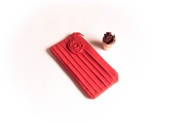 Bright Red Bridal Wedding Clutch or Bridesmaids Clutch, Pouch, Purse -Reserved for Amy- Romantic Rose pleats by Lolos