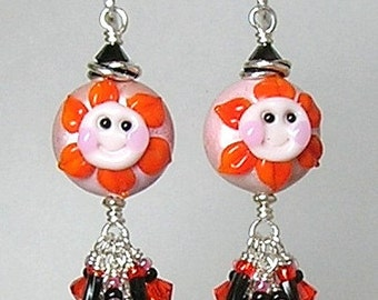 Glitterbug Originals He LoVeS Me.....Handmade Lampwork Sweet-Faced Flower Art Glass Earrings SRAJD