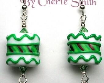 Glitterbug Originals Christmas Sugar Cookies Handmade Lampwork Glass Bead Earrings SRAJD