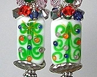 Glitterbug Originals Christmas TREE WHIMSY Handmade Lampwork Art Glass Earrings SRAJD