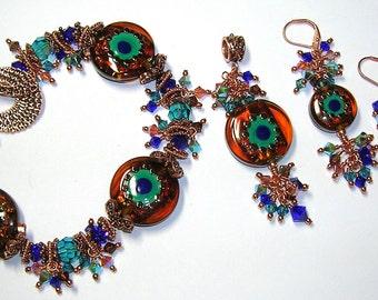 Glitterbug Originals GYPSY PEACOCK Handmade Lampwork Art Glass Earrings Pendant and Bracelet Set SRaJD