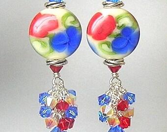 Glitterbug Originals LeT FReeDOM RiNG Handmade ReD WHiTe and BLuE Lampwork Art Glass Earrings SRAJD