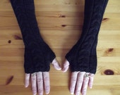 Jet Black Extra Long Ladies Fingerless Gloves-Womens Arm Warmers-Ready to Ship