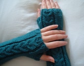Handknitted Dark Teal Extra Long Ladies Fingerless Gloves-Womens Arm Warmers-Ready to Ship