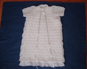 Hand knitted Delicate Lacy Christening Dress-Baptismal Dress-Naming Ceremony Baby Dress-Matching Lacy Bonnet-Ready to Ship