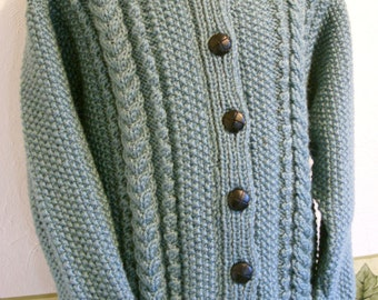 KNIT CHILDS JACKET/Aran Hooded Childs Jacket-Ready to Ship