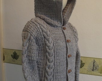 KNIT DUFFLE COAT/Hooded Grey Handknit Toddler Duffle Coat-Baby Hooded Jacket-Age 1-2 yrs-Ready to Ship