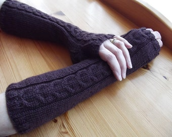 FINGERLESS GLOVES/ARMWARMERS/Handknitted Bracken Brown Ladies Extra Long Cabled Fingerless Gloves-Womens Knit Arm Warmers-Ready to Ship