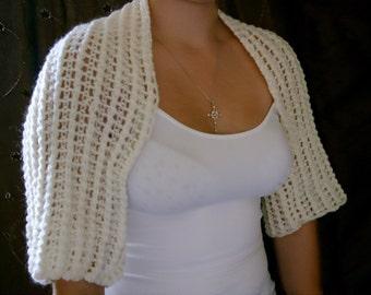 Luxury Cream  Handknit Angora Ladies Evening Shrug-Womens Knit Wrap-Knit Cropped Cardigan-Ladies Short Jacket- Ready to Ship - Reduced