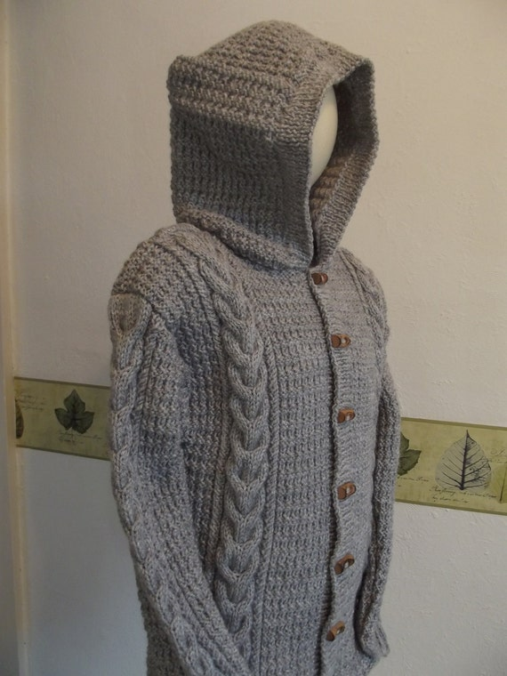 KNIT DUFFLE COAT/Hooded Grey Handknit Toddler Duffle Coat-Baby