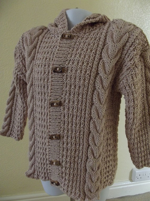 Handknitted Almond Cream Hooded Toddler Duffle Coat-Knit Baby Sweater-Ready to Ship