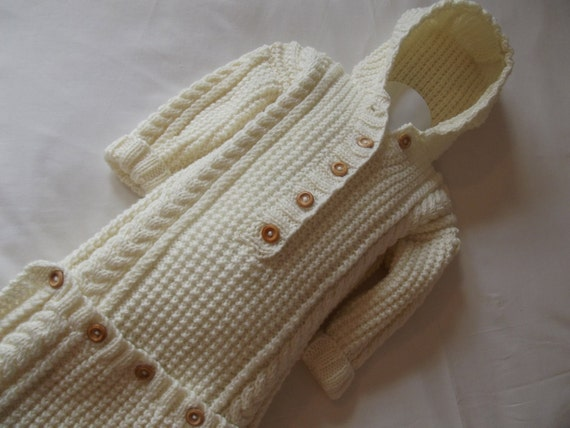 Cream Aran Baby Snuggle Sack/All-In-One/Baby Bag Ready to Ship