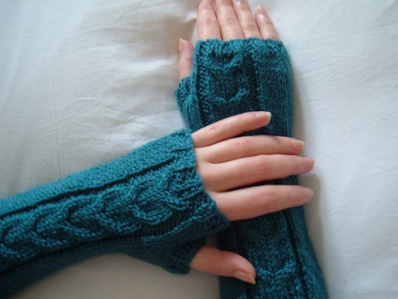 Dark Teal Extra Long Fingerless Gloves/Armwarmers-Ready to Ship