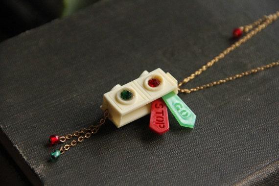 Red Light, Green Light - Vintage Celluloid Stoplight Brooch Necklace - RARE