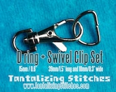 5 Sets 1.5 Inch Swivel Clips with Matching D Ring (available in Antique Brass, Nickel, Gold Color, and Gun Metal Finish)