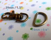 40 Sets 1.5 Inch Swivel Clips with Matching D Ring (available in nickel, antique brass, and gun metal finish)