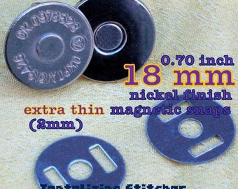 Magnetic Closures 5 Sets Extra Thin Magnetic Snap Closures - 2mm slim (available in 18 and 14mm diameter, nickel and antique brass finish)