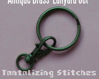5 Lanyard Kits - Swivel Clip with Key Ring (available in antique brass, nickel, and copper color finishes)