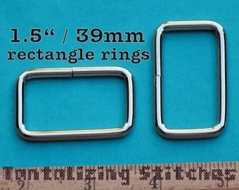 5 Pieces 1.5 Inch / 39mm Metal Wire-Formed Rectangle Rings (available in nickel and antique brass finish)