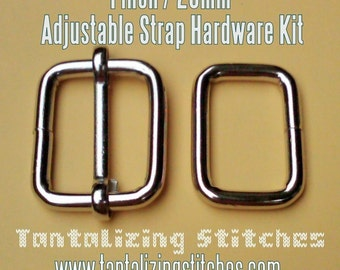 15 Sets of Adjustable Strap Kit with slide and rectangle ring - 1 Inch / 26mm Width (available in nickel and antique brass finish)