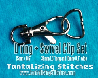 5 Sets 1.5 Inch Swivel Clips with Matching D Ring (available in Antique Brass, Nickel, and Gun Metal Finish)