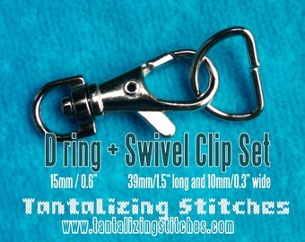 15 sets 1.5 Inch Swivel Clips with Matching D Ring (available in antique brass, nickel, and gun metal finish)