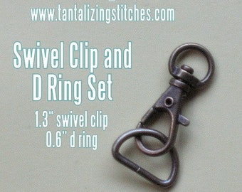 80 sets 1.3 Inch / 34mm Swivel Clips with Matching D Ring (available in antique brass and nickel finish)
