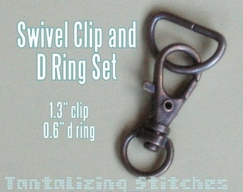 15 sets 1.3 Inch / 34mm Swivel Clips with Matching D Ring (available in antique brass and nickel finish)