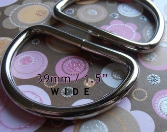D Rings 15 pieces 1.5 Inch Nickel Unwelded D rings - 39 mm for bags and other sewing projects