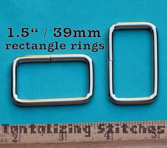 30 Pieces 1.5 Inch / 39mm Metal Wire-Formed Rectangle Rings (available in nickel and antique brass finish)